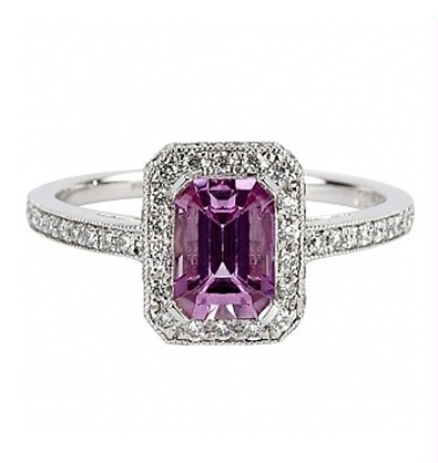 violet radiant diamond ring